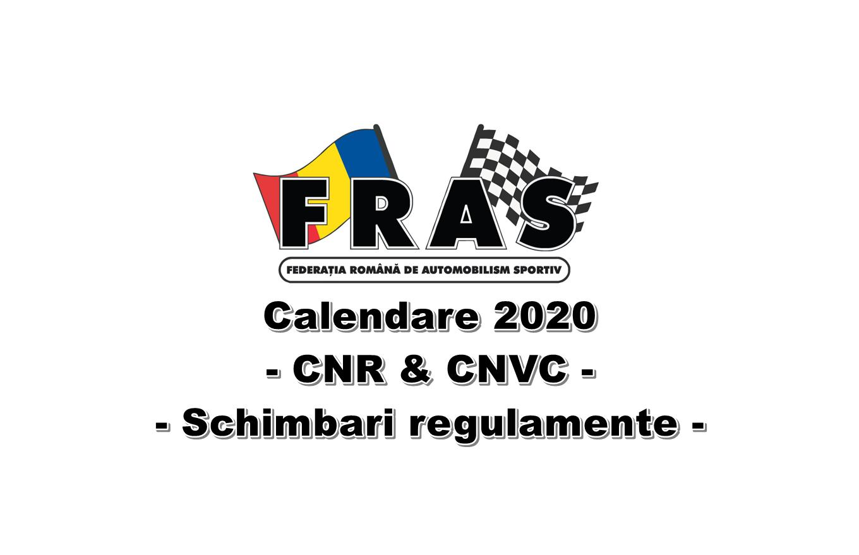 Calendar 2020: Sase etape CNR, sapte etape CNVC