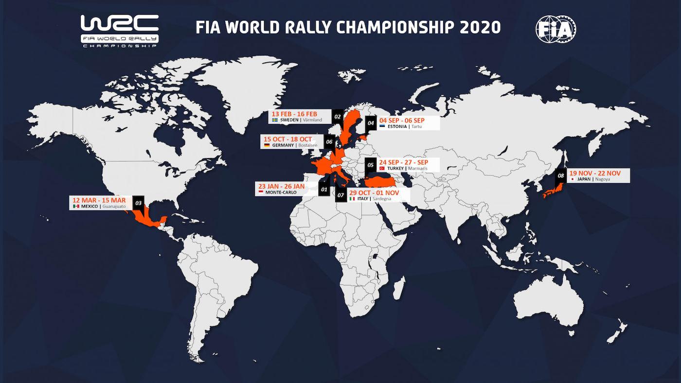 Noul calendar pentru WRC 2020